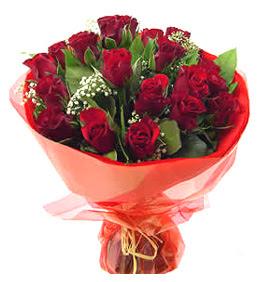 Siirt çiçekçiler  11 adet kimizi gülün ihtisami buket modeli