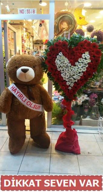1.5 Metre peluş ayı ve Kalp  Siirt çiçek servisi , çiçekçi adresleri