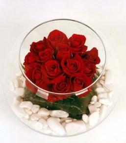 Cam fanusta 11 adet kırmızı gül  Siirt kaliteli taze ve ucuz çiçekler