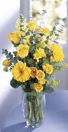 Siirt ucuz çiçek gönder  sari güller ve gerbera cam yada mika vazo