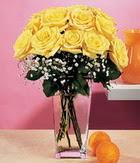 Siirt çiçek gönderme  9 adet sari güllerden cam yada mika vazo