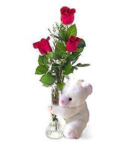 oyuncak ve 3 adet gül  Siirt çiçek yolla
