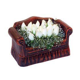 seramik içerisinde 11 gül  Siirt İnternetten çiçek siparişi