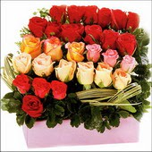 15 adet renkli gül ve cam   Siirt çiçek gönderme sitemiz güvenlidir