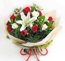 güller ve kazablanklardan görsel bir buket  Siirt çiçek gönderme