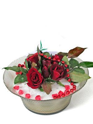 Siirt çiçek , çiçekçi , çiçekçilik  EN ÇOK Sevenlere 7 adet kirmizi gül mika yada cam tanzim