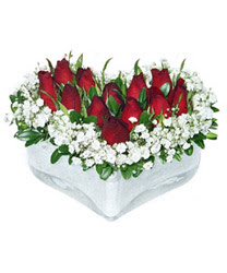 Siirt çiçek satışı  mika kalp içerisinde 9 adet kirmizi gül