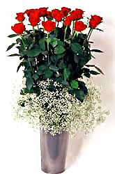 Siirt hediye çiçek yolla  9 adet kirmizi gül cam yada mika vazoda