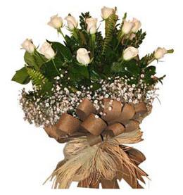Siirt güvenli kaliteli hızlı çiçek  9 adet beyaz gül buketi