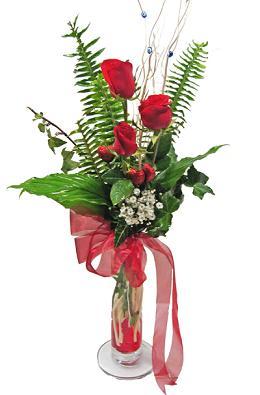 Çiçek gönderin cam vazoda 3 gül çiçekleri  Siirt çiçek yolla