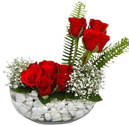 cam içerisinde 9 adet kirmizi gül  Siirt çiçek , çiçekçi , çiçekçilik