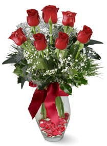 7 adet vazoda gül  Siirt çiçek gönderme  kirmizi gül