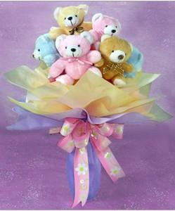 8 adet ayiciktan buket  Siirt çiçek gönderme