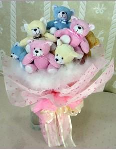 9 adet ayiciktan buket  Siirt online çiçek gönderme sipariş