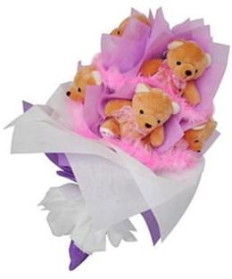 9 adet ayiciktan buket  Siirt internetten çiçek siparişi