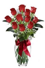 11 adet kirmizi gül vazo mika vazo içinde  Siirt internetten çiçek satışı