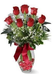 Siirt çiçek satışı  7 adet kirmizi gül cam vazo yada mika vazoda