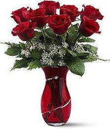 Vazo içinde 8 adet kirmizilar içinde güller  Siirt çiçek satışı