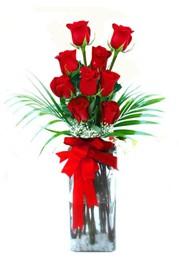 Siirt güvenli kaliteli hızlı çiçek  9 adet mika yada cam vazoda gül tanzimi