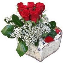 Siirt uluslararası çiçek gönderme  kalp mika içerisinde 7 adet kirmizi gül