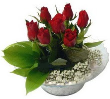 Siirt çiçek gönderme  cam yada mika içerisinde 5 adet kirmizi gül