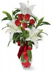 Siirt çiçek , çiçekçi , çiçekçilik  5 adet kirmizi gül ve 3 kandil kazablanka