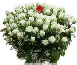 Siirt çiçek gönderme  100 adet beyaz 1 adet kirmizi gül buketi