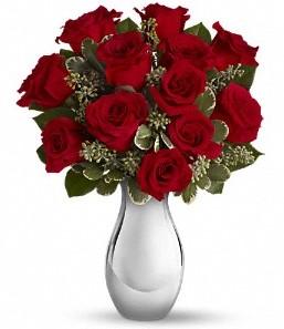 Siirt çiçek , çiçekçi , çiçekçilik   vazo içerisinde 11 adet kırmızı gül tanzimi