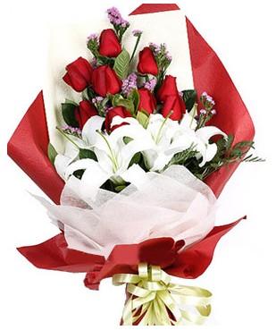 Siirt çiçekçi telefonları  1 dal kazablankaa 9 adet kırmızı gül buketi