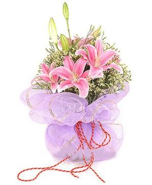 3 dal kazablanka görsel buketi  Siirt çiçek gönderme