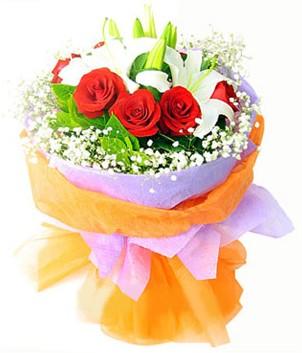 Siirt çiçek servisi , çiçekçi adresleri  1 dal kazablanka 7 adet kırmızı gül buketi