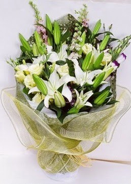 Siirt online çiçek gönderme sipariş  3 adet kazablankalardan görsel buket çiçeği