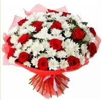 11 adet kırmızı gül ve beyaz kır çiçeği  Siirt çiçek gönderme