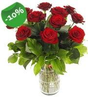 11 adet vazo içerisinde kırmızı gül  Siirt ucuz çiçek gönder