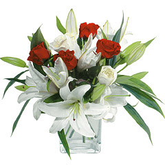 vazo içerisinde 4 gül 1 adet kazablanka  Siirt ucuz çiçek gönder