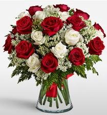 Vazoda 12 kırmızı 12 beyaz gül tanzimi  Siirt çiçek siparişi sitesi