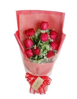 9 adet kırmızı gülden görsel buket  Siirt çiçek yolla , çiçek gönder , çiçekçi