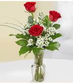 Vazo içerisinde 3 adet kırmızı gül  Siirt yurtiçi ve yurtdışı çiçek siparişi
