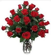 Siirt çiçek yolla  24 adet kırmızı gülden vazo tanzimi