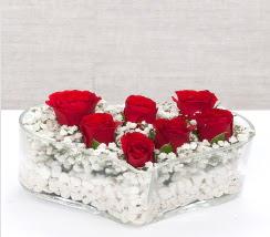 kalp içerisinde 7 adet kırmızı gül  Siirt çiçek , çiçekçi , çiçekçilik