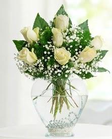Cam içerisinde 7 adet beyaz gül  Siirt çiçekçi mağazası