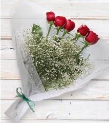 5 kırmızı gülden sade buket  Siirt çiçek mağazası , çiçekçi adresleri