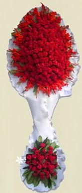 Çift katlı kıpkırmızı düğün açılış çiçeği  Siirt çiçekçiler