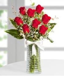 7 Adet vazoda kırmızı gül sevgiliye özel  Siirt çiçek yolla