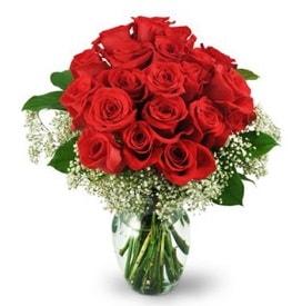 25 adet kırmızı gül cam vazoda  Siirt online çiçekçi , çiçek siparişi
