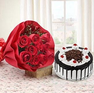 12 adet kırmızı gül 4 kişilik yaş pasta  Siirt online çiçekçi , çiçek siparişi