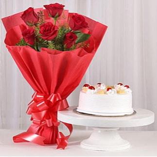6 Kırmızı gül ve 4 kişilik yaş pasta  Siirt online çiçekçi , çiçek siparişi