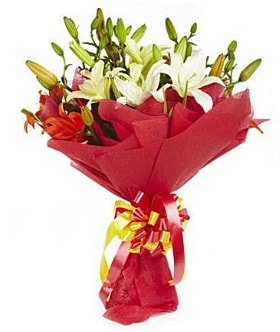 5 dal kazanlanka lilyum buketi  Siirt çiçek servisi , çiçekçi adresleri