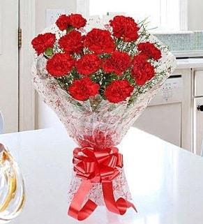 12 adet kırmızı karanfil buketi  Siirt çiçek online çiçek siparişi