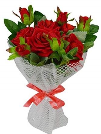 9 adet kırmızı gülden sade şık buket  Siirt güvenli kaliteli hızlı çiçek